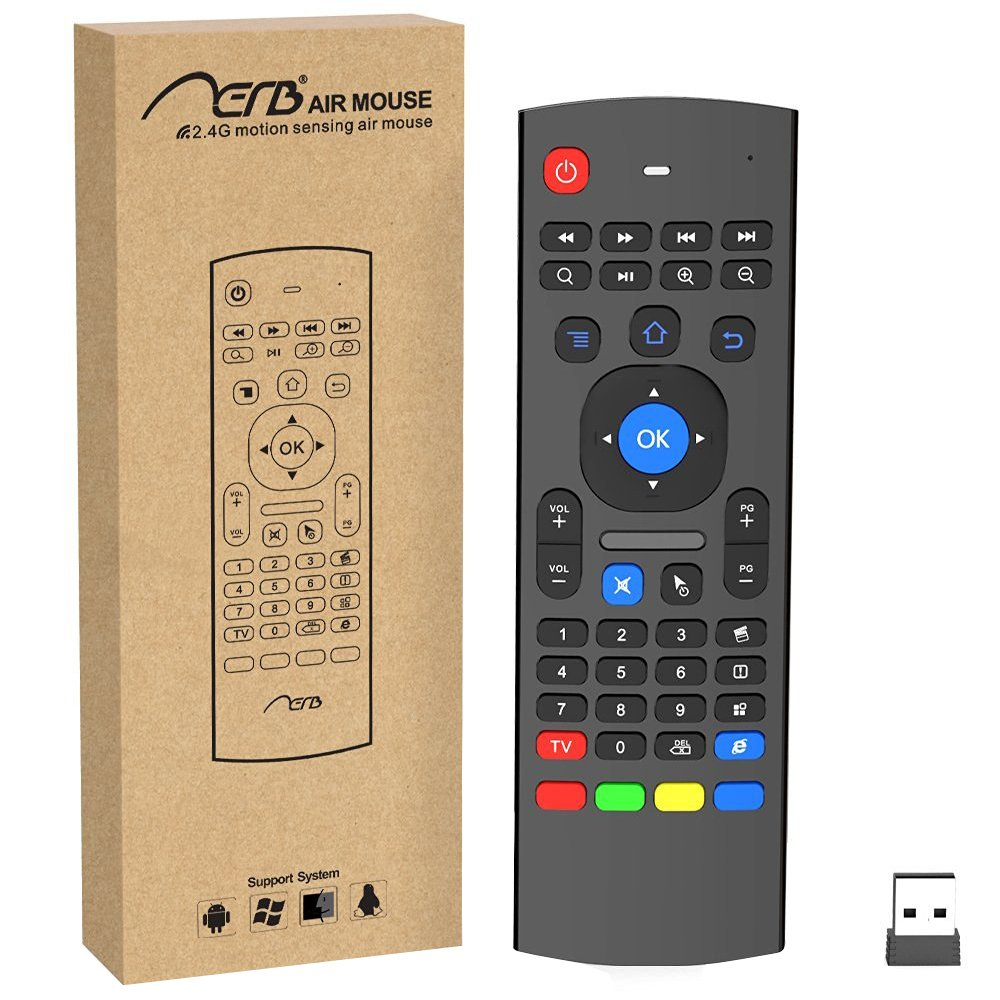 Aerb Multifunction 2.4 G Air Mouse Mini Wireless Keyboard & Infrared Remote Control & 3-Gyro + 3-Gsensor W USB Wireless Receiver for Google Android Smart TV Box G Box IPTV HTPC Mini PC Windows iOS MAC Linux PS3 Xbox 360 ae0444