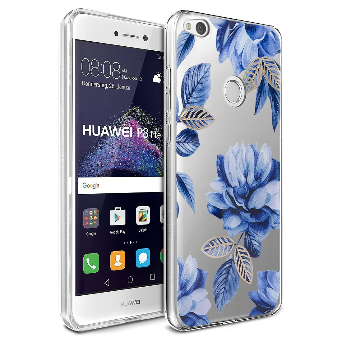 Amazon.com: Floral Huawei P8 Lite 2017 Case Flowers,Case ...