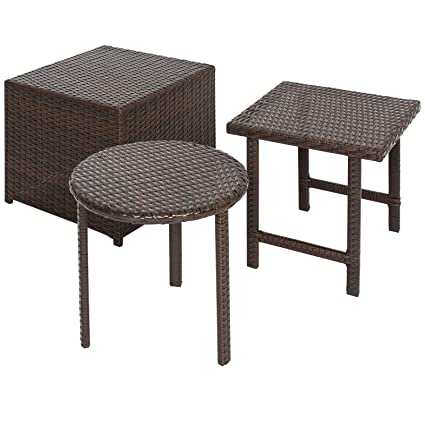3 PCS Outdoor Wicker Side Table Set and Ottoman Garden Patio Deck Backyard Yard Porches Poolside  sc 1 st  Amazon.com & Amazon.com : 3 PCS Outdoor Wicker Side Table Set and Ottoman Garden ...