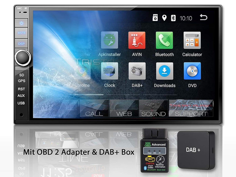 OBD 2 OBD 2 Adapter Bluetooth Freisprecheinrichtung USB//SD 7 Touchscreen Bildschirm Android 8.1 GPS Navi Quad Core Tristan Auron BT2D7020A Autoradio DAB 2 DIN
