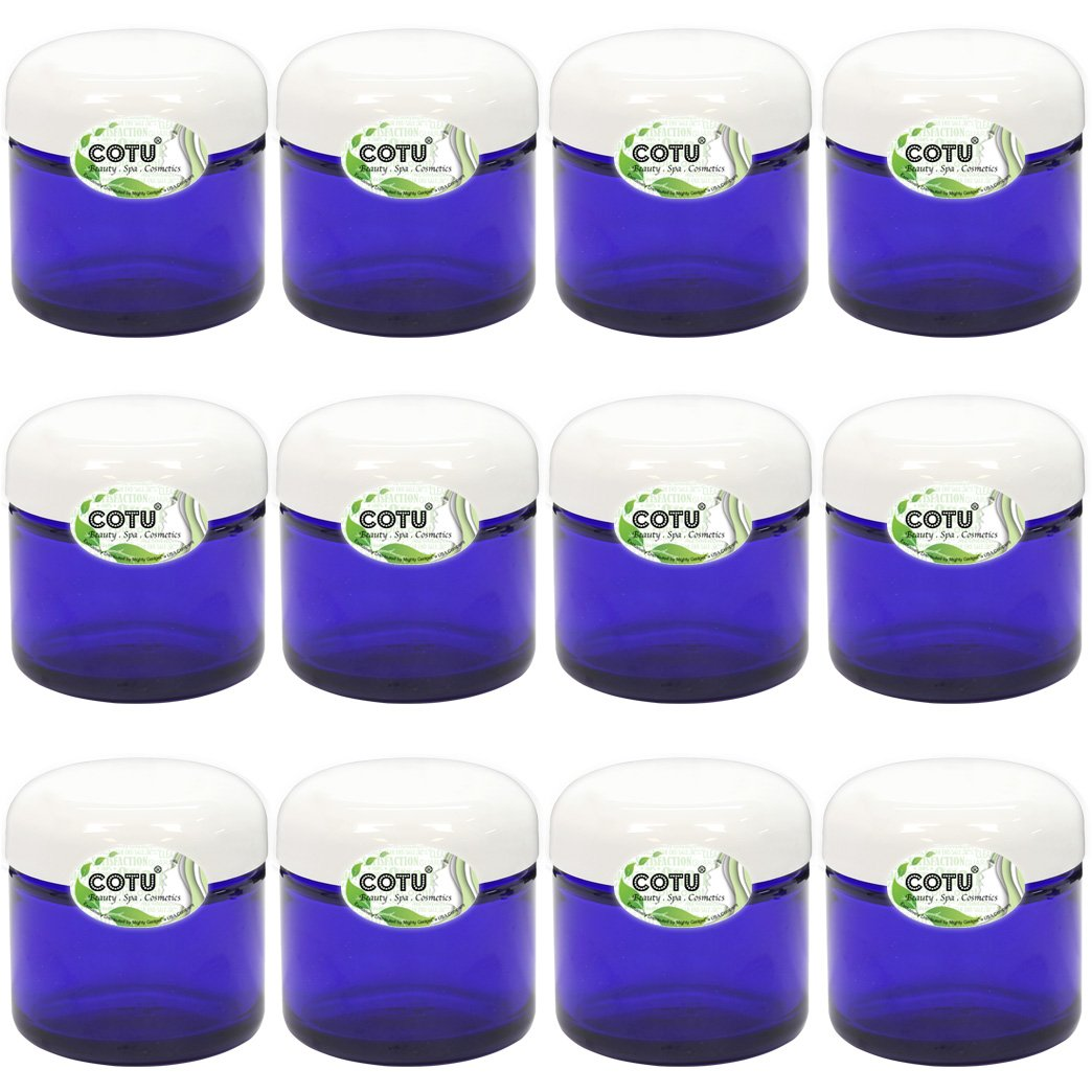 12 x 2oz New Empty Cobalt Blue Glass Jars with White Dome Liner Lids by COTU R