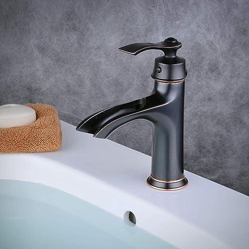 Waterfall Bathroom Vessel Sink Faucet in Creative Design,Single Handle One Hole Bathroom Sink Faucets,Oil Rubbed Bronze, Beelee BL0608B