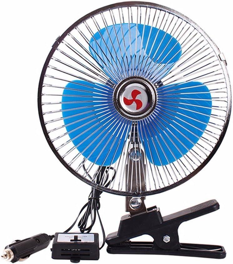 WanJiaMen'Shop Ventilador Azul para automóvil Ventilador pequeño para automóvil Aire Acondicionado para camión Grande Ventilador Fuerte Ventilador de Cabeza móvil, 8 Pulgadas, 24V