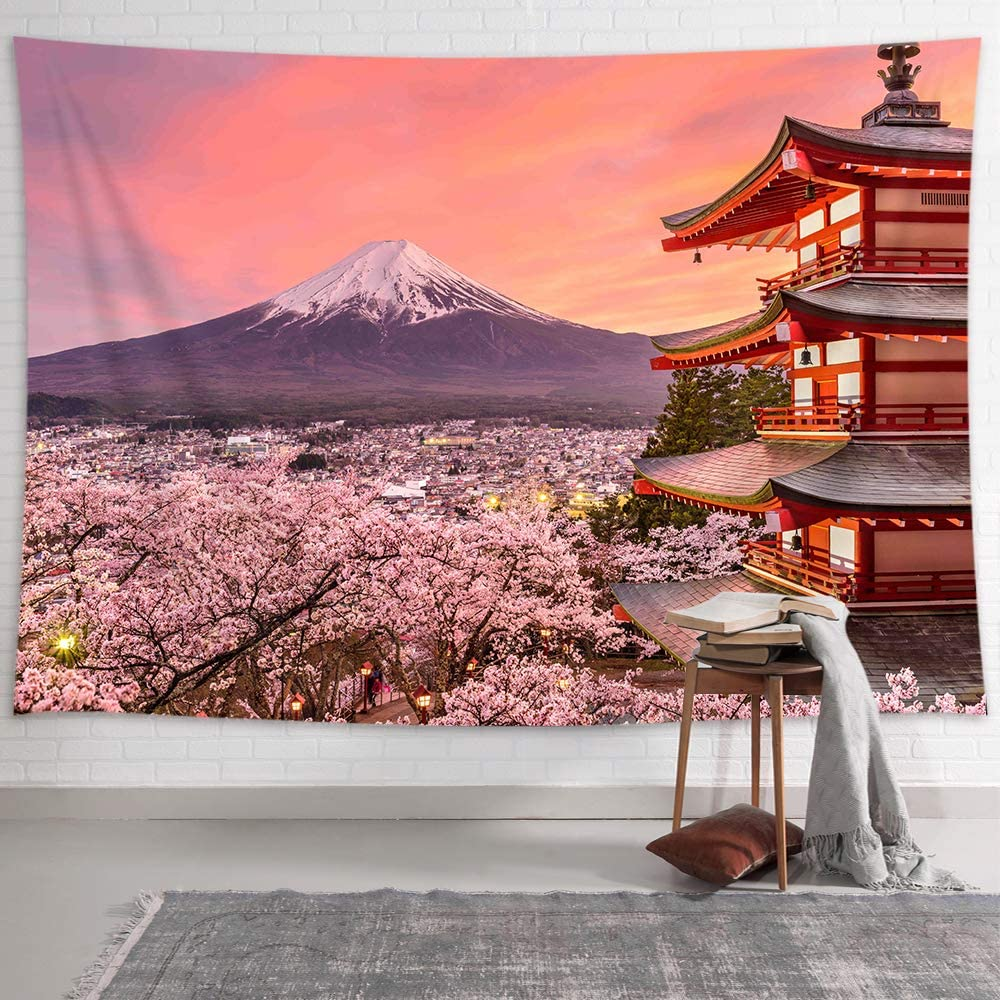 NYMB Pink Decor Japanese Tapestry Wall Hanging Japan Pagoda Mountain Fuji in The Spring Cherry Blossoms Art Tapestries, City Landscape Tapestry Wall Deocr for Bedroom Living Room Dorm