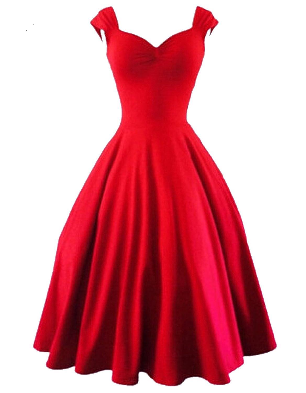 TOP-AK Damen Audrey Hepburn 50s Retro Cocktailkleider Abendkleider Elegant Schwarz Vintage Bubble Skirt Rockabilly Swing Evening Kleid Dress Brautjungfernkleid