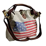 Women's Weathered American Flag Cotton Tote Bag