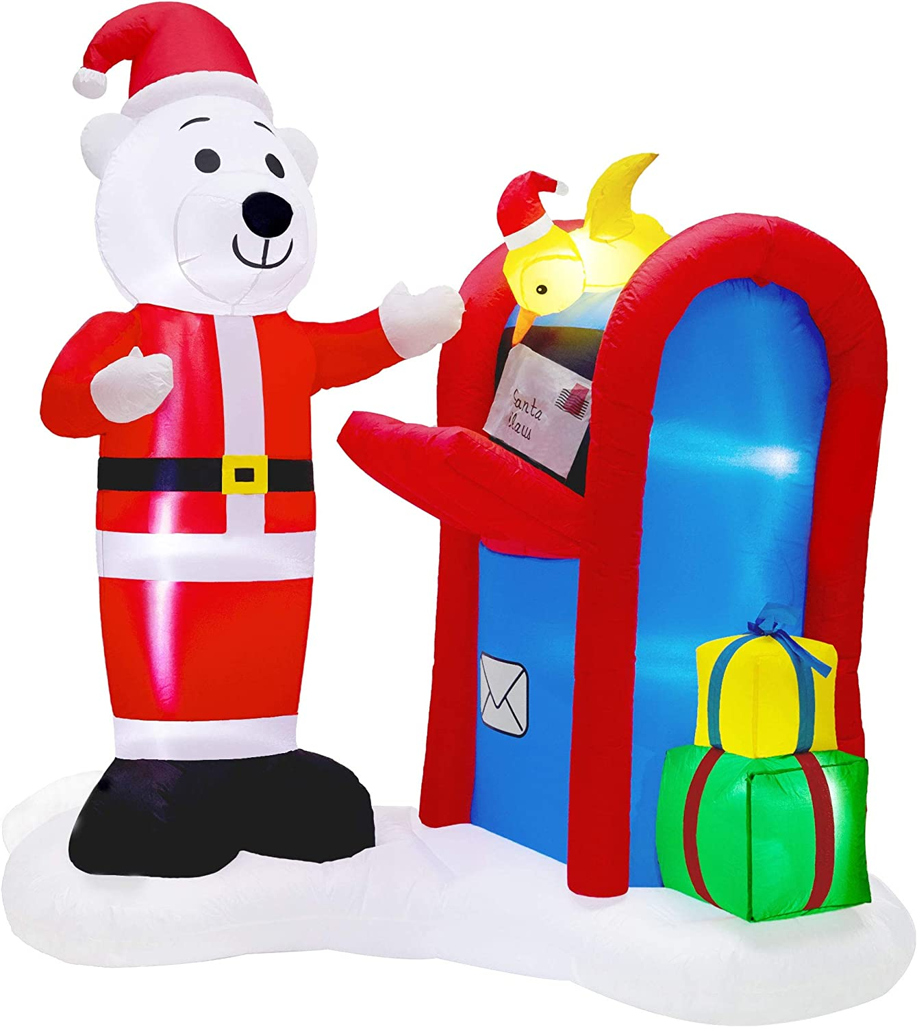 Twinkle Star 6FT Christmas Inflatables Decorations, Lighted Polar Bear Mailing Letter to Santa Scene, Mailbox Blow Up Indoor Outdoor Xmas Decor Lawn Yard Garden Decor