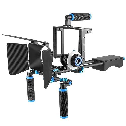 Neewer DSLR Movie Rig Lega Alluminio per Reflex Digitali Canon Nikon Sony(1) Gabbia Fotografica(1) Impugnatura Superiore (2) Asta 15mm (1) Matte Box(1) Follow Focus (1) Stabilizzatore Spalla Blu