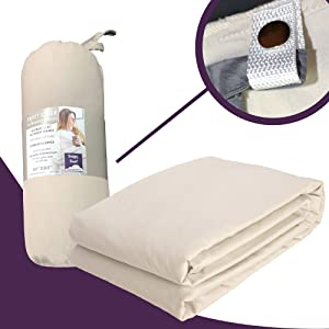 Snappy Duvet 100% Cotton Removable Weighted Blanket Cover, Beige (48x72 Duvet Cover)