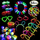 Glow in the Dark LED Party Supplies —Scione 84pcs Party Favors for Kids, 50 Glow Sticks Bulk with Multi Fun Shaped Connectors,Led Glasses,Light Up Rings & Finger Lights for Kid Party Birthday Halloween Gift