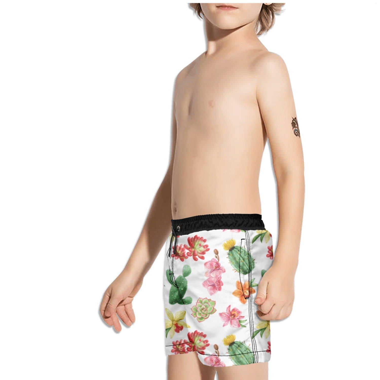 Ouxioaz Boys Swim Trunk Succulents Floral Cactus Beach Board Shorts