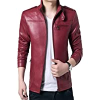 Gordania Men's Faux Leather Red Slim Fit Army Design Jacket