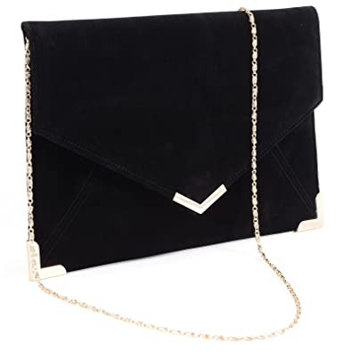 Suede Velvet Clutch Evening Bag Wedding Envelope Bag Prom Party Handbag  Golden Trim  Amazon.co.uk  Shoes   Bags fef45e77dd773