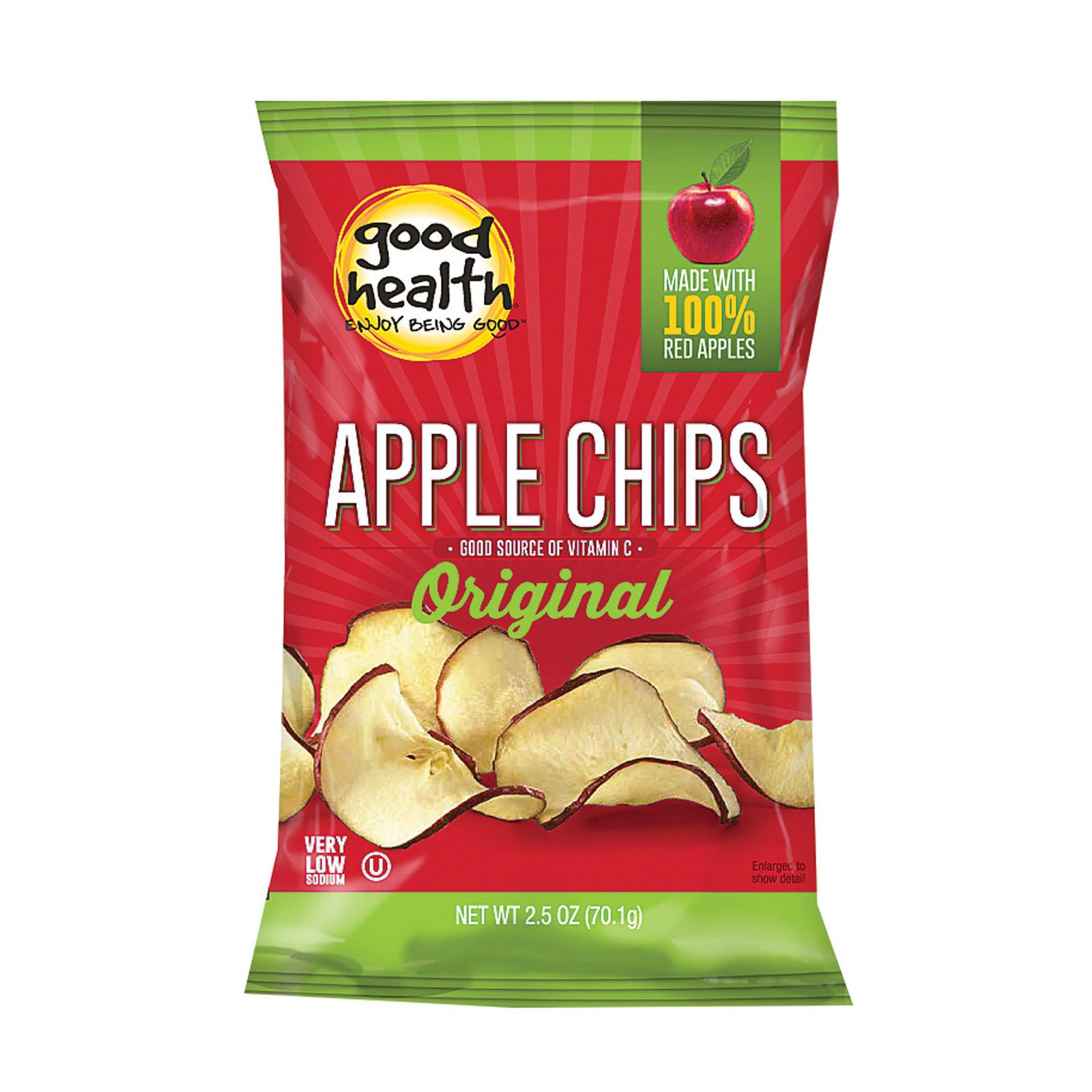 Good Health Apple Chips - Crispy Original - Case of 12-2.5 oz.