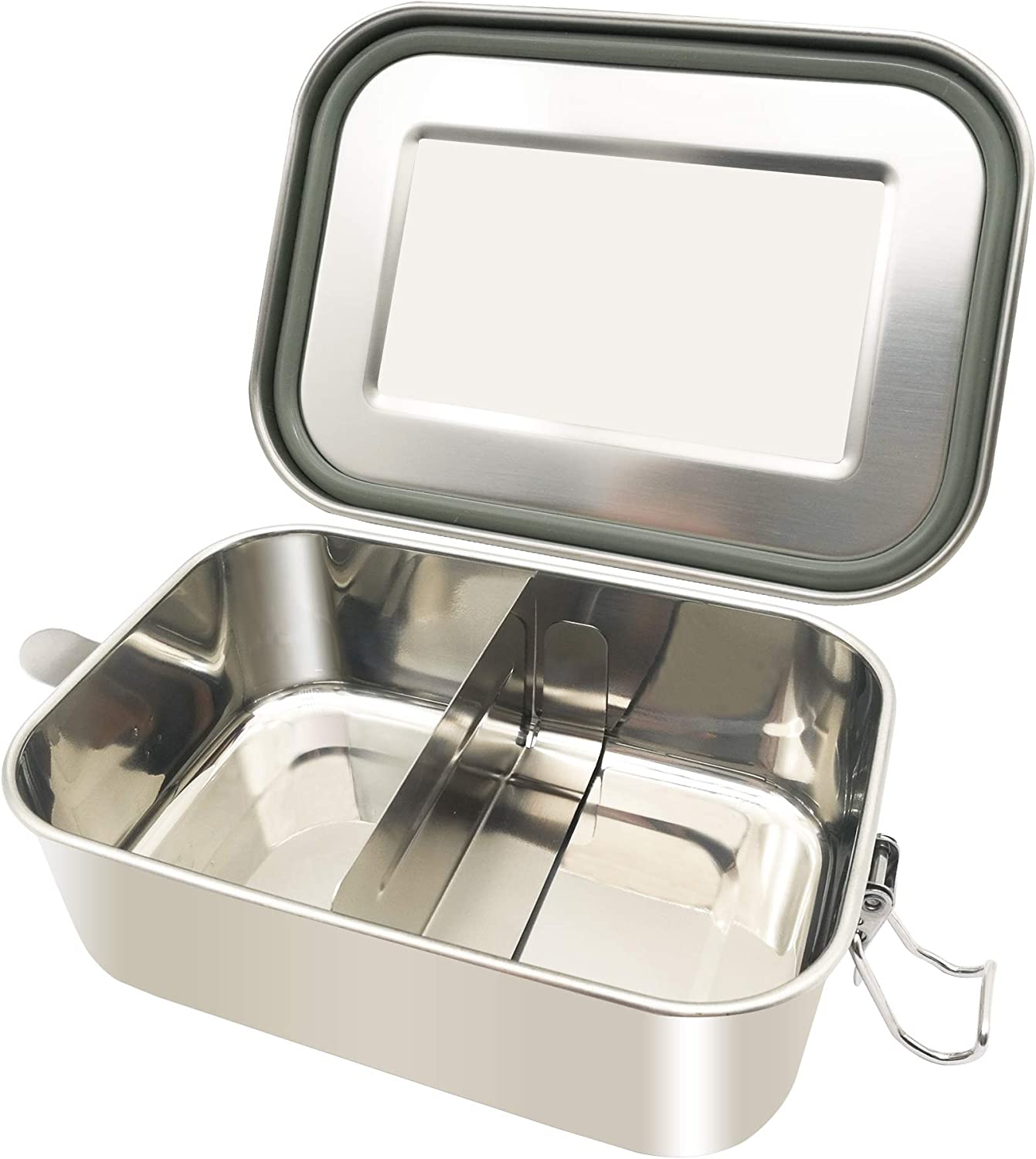 UPTRUST Stainless Steel Lunch Food Container, Large Bento Boxes Metal Lunch Box for Kids or Adults - Lockable Clips to Leak Proof- Adjustable Divider included -Dishwasher Safe, BPA free (800ML/27oz)