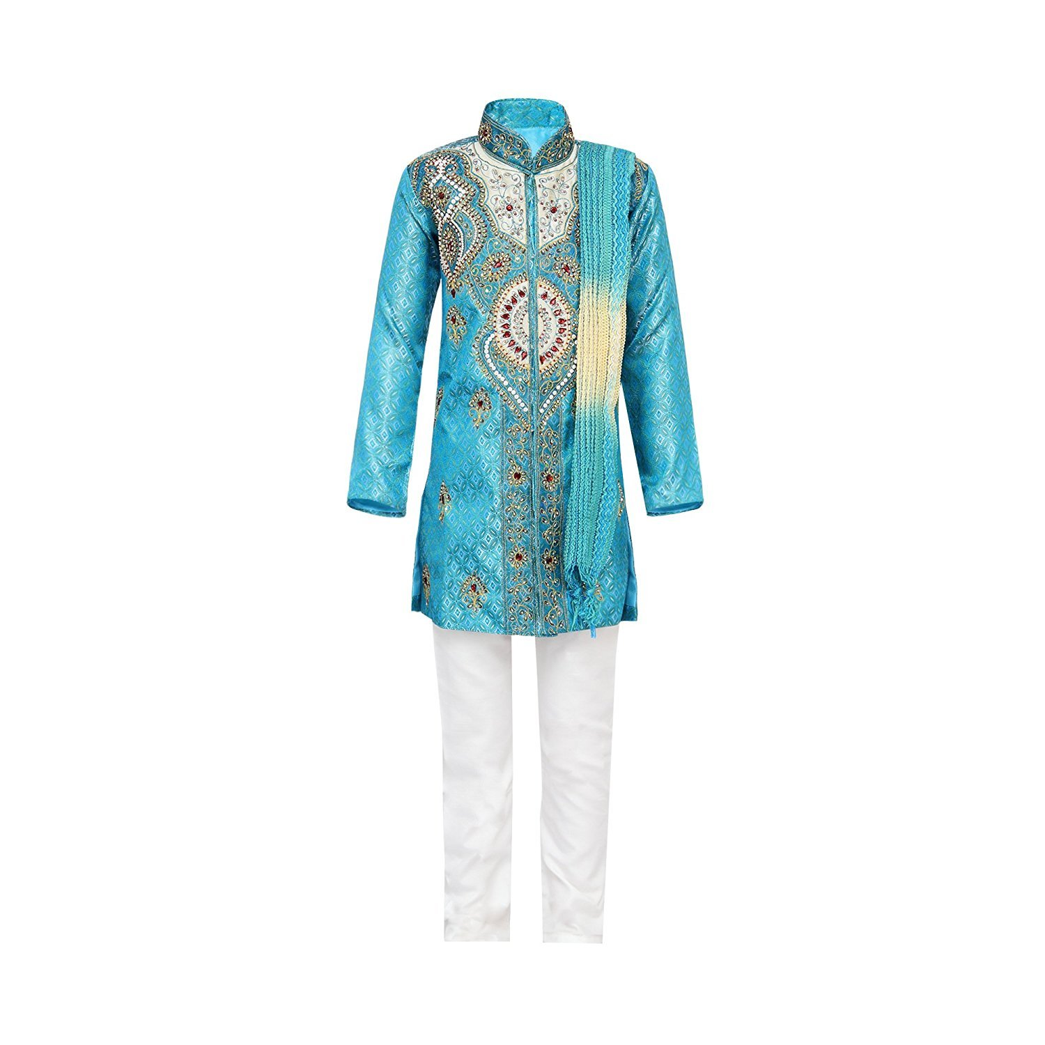 Ahhaaaa Kids Ethnic Indian Festive and Party Wear Sherwani and Breeches With Dupatta Set For Boys Blue 9-10 Years by Ahhaaaa