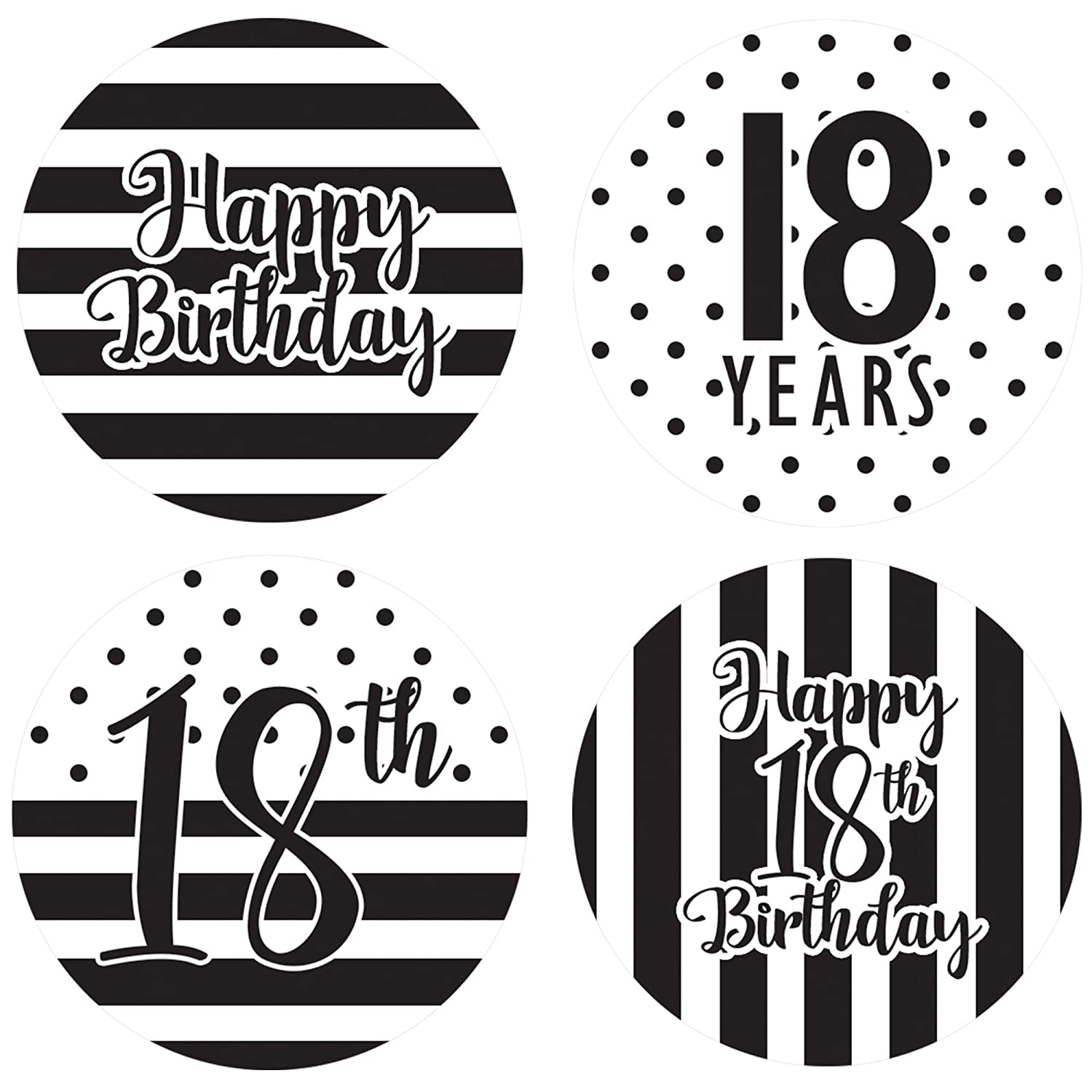 Amazon com black and white 18th birthday party favor circle sticker labels 60 count health personal care