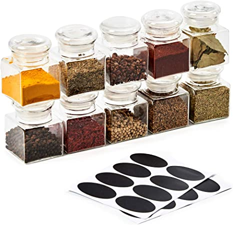 Ezoware Clear Glass Favor Jar Set 10 Piece Mini Square Decorative