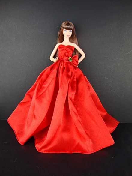 Amazon.com: A Long and Flowing Gown in Brilliant Red with a Long ...