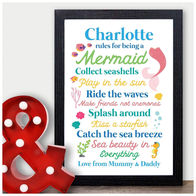 Best Friends Mermaid Bedroom Wall Art Print Keepsake Niece Granddaughter Sister Daughter Her Mermaid Rules Personalised Christmas Birthday Gifts for Girls