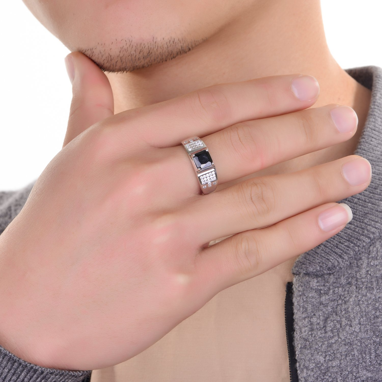 JiangXin Vintage Men\'s Ring 925 Sterling Silver Princess Cut Black ...