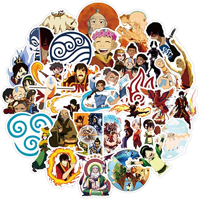 50PCS Avatar:The Last Airbender Sticker Vinyls Decals for Laptop,Cars,Motorcycle,Bicycle,Skateboard Luggage,Bumper Stickers Hippie Decals Bomb Waterproof
