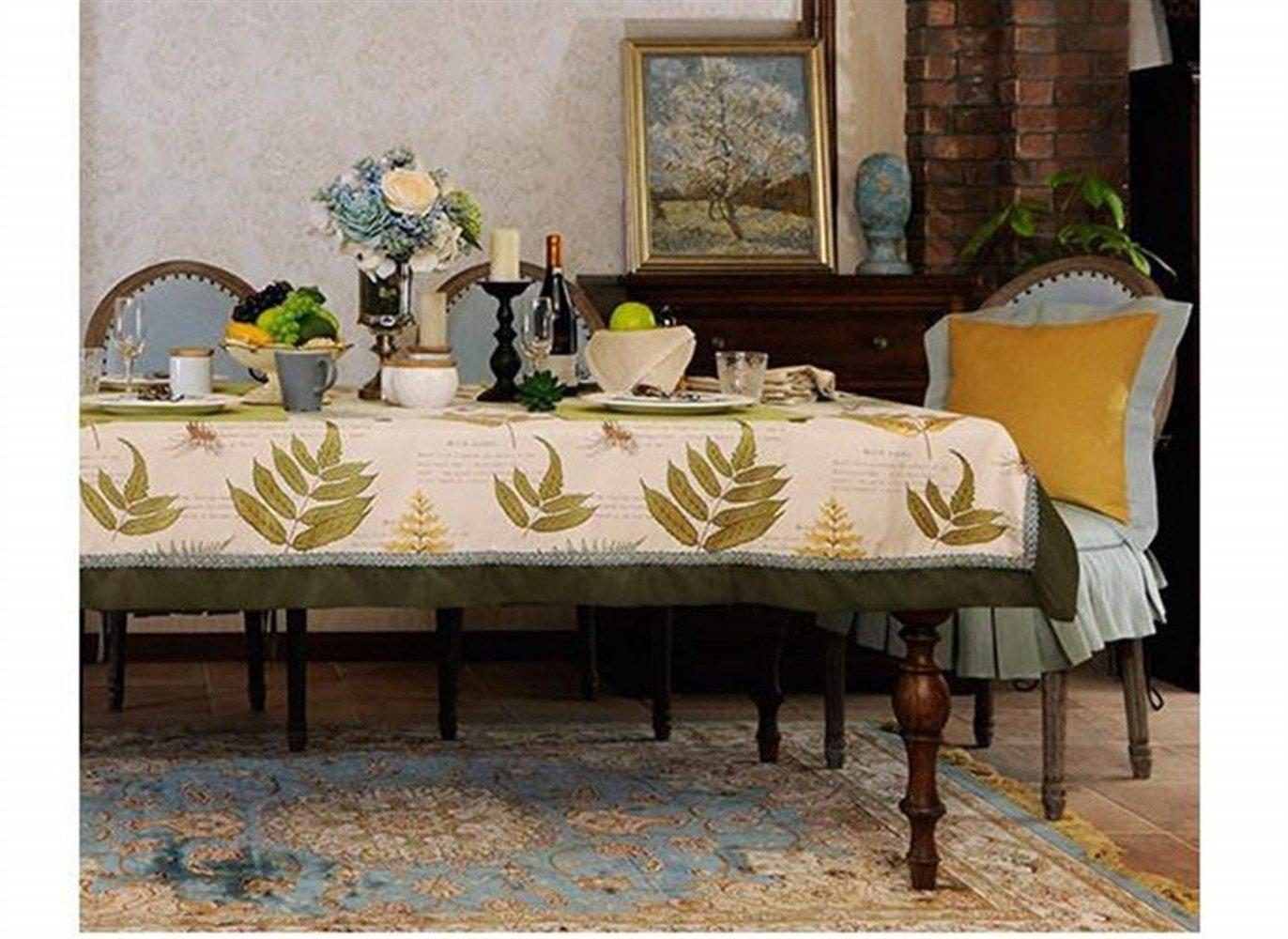 家の装飾布カバー テーブルクロス綿とリネンの葉、ジャカード丸テーブルクロスカバー布コーヒーテーブルクロス快適 テーブルクロス (色 : 130*190cm, サイズ : A) A 130*190cm B07R23DHJQ