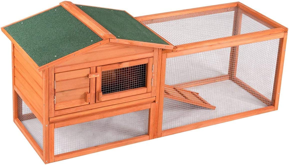 B00OOKBFR4 Confidence Pet 62 Rabbit Hutch/Chicken Coop, Brown 712qtrY6EQL.SL1200_