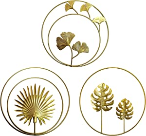 Iron Wall Decor, Gold Metal Ginkgo, Maple, Monstera Leaf Wall Decor Round Wall Ornaments,Easy Installation Great for Bedroom Hanging Parts Hotel Wall Decoration, Round Wall Sculptures(Gold, 3)