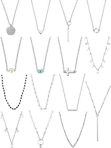 bel design prima qualità nuovo arriva 15 Pezzi Collana a Strati Girocollo per le Donne Ragazze Coin Star  Multistrato Catena Collane Set Regolabile