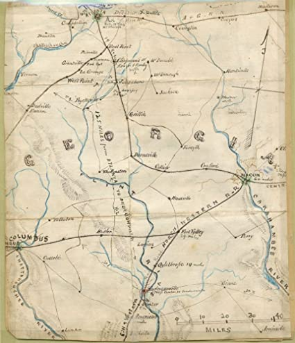 Amazon.com: Vintage 1861 Map of Georgia. Shows railroad lines ...