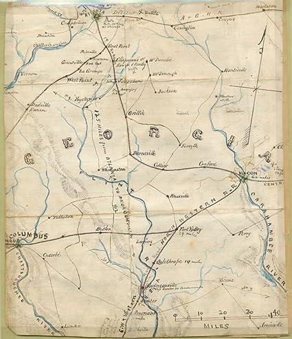 Railroad Map Of Georgia.Amazon Com Vintage 1861 Map Of Georgia Shows Railroad Lines