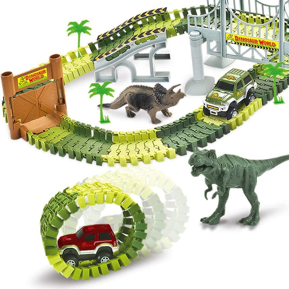 AUUGUU Dinosaur Race Car Track Train Toys, Perfect Birthday for 3 4 5 6 7 Year Old Boys Kids, Dinosaur World Playset with 142 Pieces Tracks, 2 Dinosaurs and 2 Vehicle