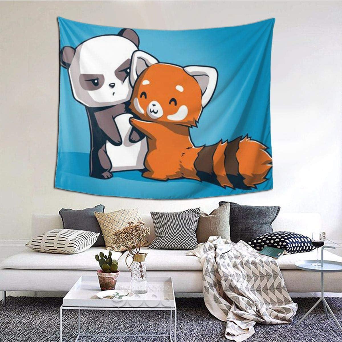 Kwhy Cartoon Animal Panda Printed Tapestry 60 X 51 , Tapestries Wall Hanging Art Decor for Living Room Bedroom Dorm