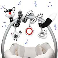 Euyecety Baby Toys Spiral Plush, Black and White Car Seat Toys Stroller Toys Spiral Activity Toy, Hanging Rattle Toys…
