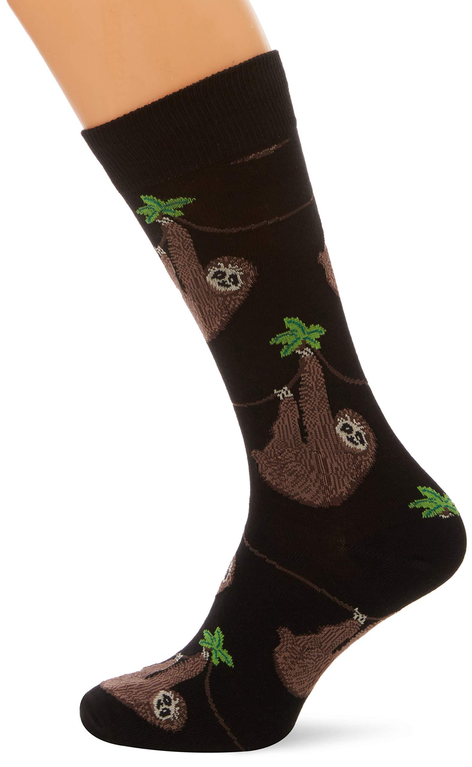 Socksmith Men'S Sloth Crew Socks In Black - Socksmith
