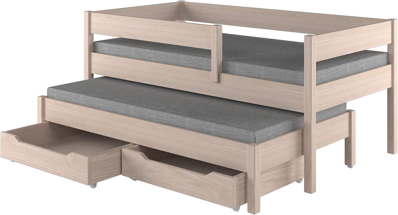Childrens Beds Home Cama Nido para niños Niños Juniors Colchón Sin cajones y sin colchón Incluido (180x90, Roble Claro)