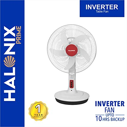 Halonix Inverter 400mm Table Fan with Built-in LED Light (White)