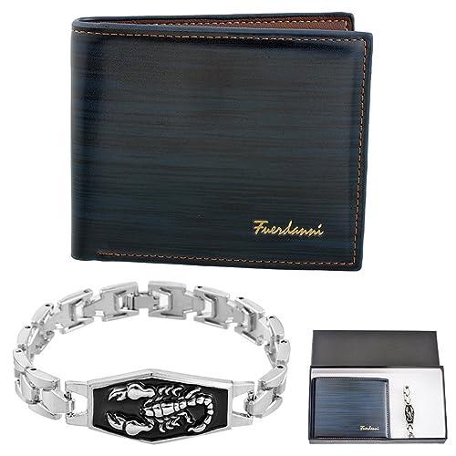 MJARTORIA 2pcs para hombre Slim piel sintética tipo cartera color de plata pulsera de cadena Set con joyero: Amazon.es: Joyería
