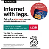 Three UK PAYG Trio Data SIM Card Mobile Broadband -12GB + FREE International Calling Card - (RETAIL PACK).