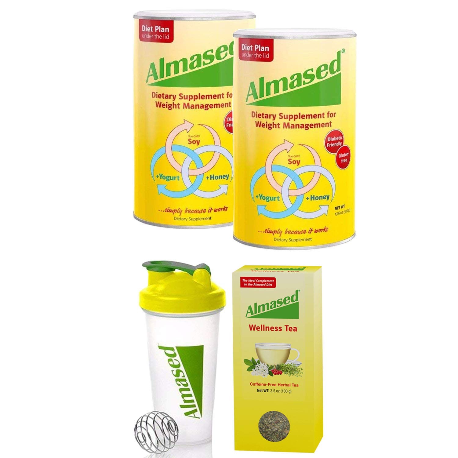 Almased® Meal Replacement Shakes -Soy Protein Powder for Weight Loss - Shake for Meal Replacement - Gluten Free, No Sugar Added (2 Pack + Free Shaker Bottle+ Almased® Wellness Tea) by Almased