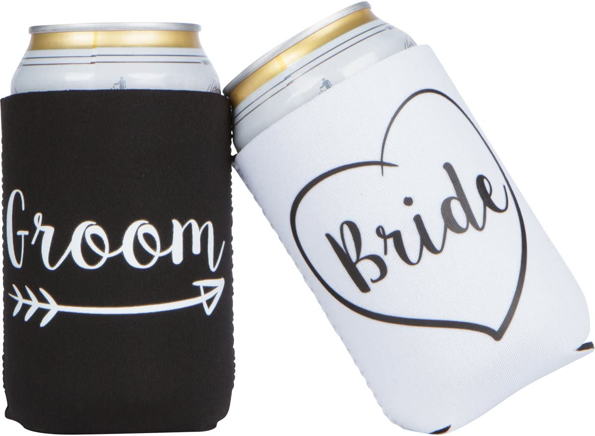 Cute Wedding Gifts - Bride and Groom Novelty Can Cooler Combo - Engagement Gift for Couples