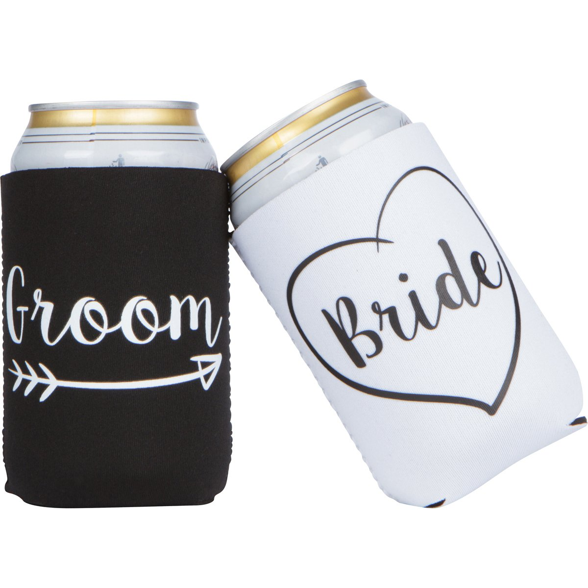 Cute Wedding Gifts - Bride and Groom Novelty Can Cooler Combo - Engagement Gift for Couples by The Plympton Company (Image #1)
