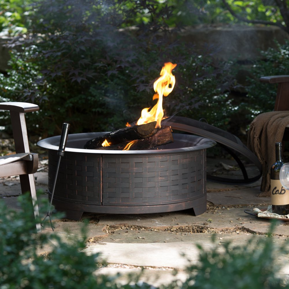Red Ember 29 in. Wicker Base Design Fire Pit with FREE Cover