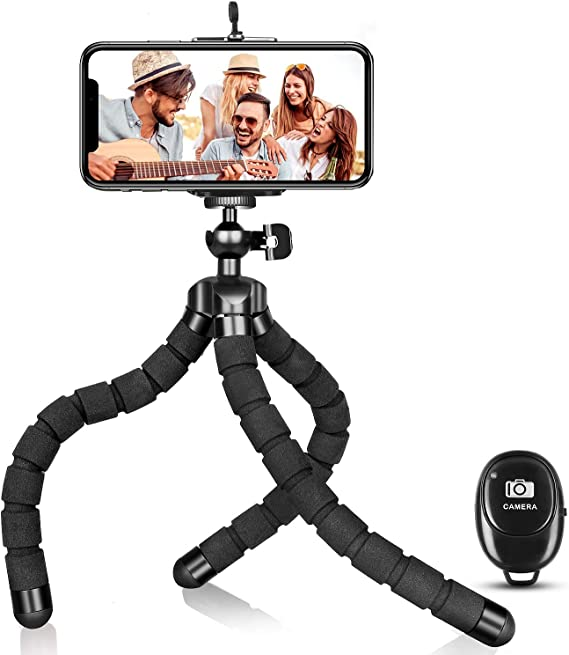 Portable and Adjustable Flexible Tripods Camera Stand Holder with Universal Phone Mount for iPhone Android Phone Sports Camera 3Data Phone Tripod