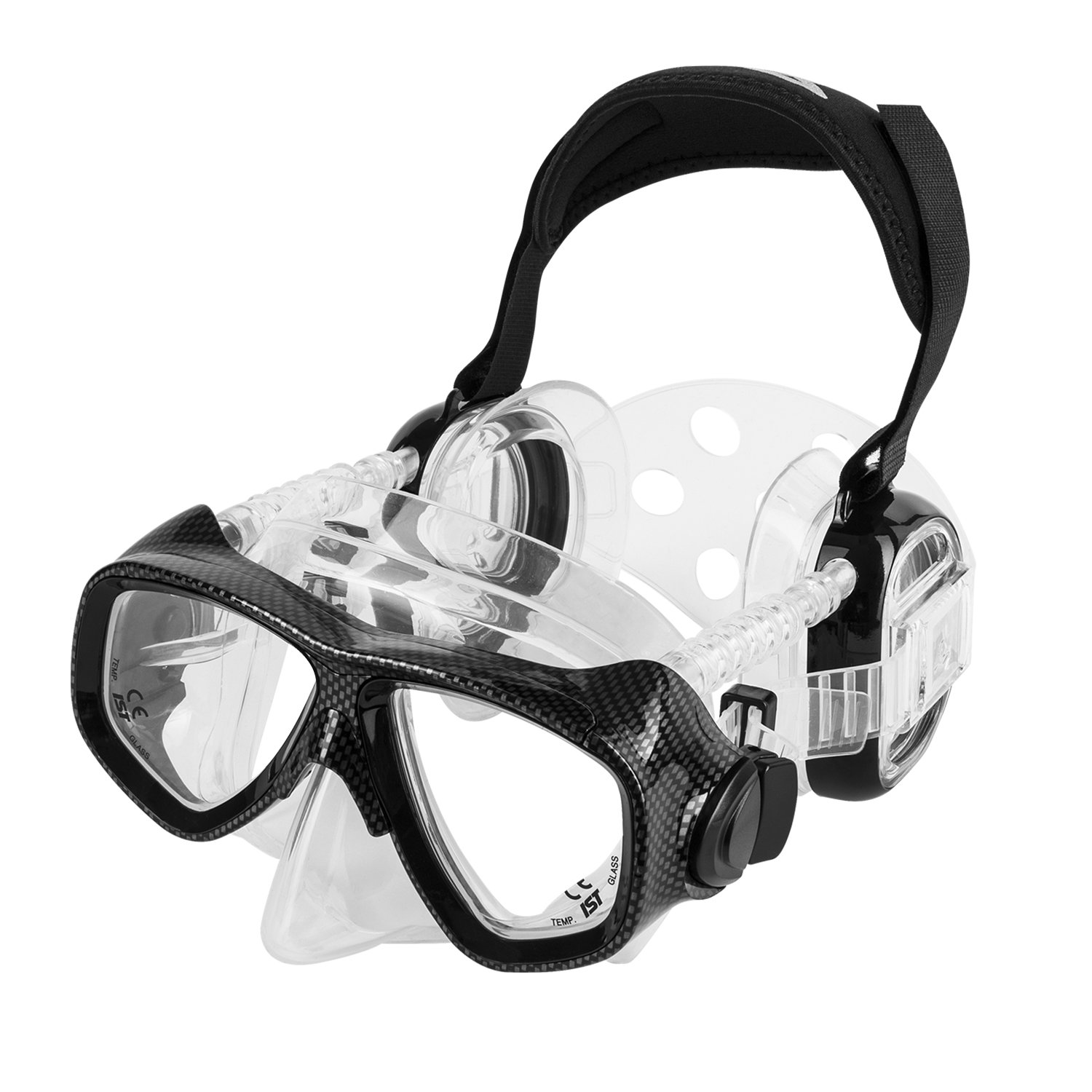 IST ProEar Dive Mask with Ear Covers, Scuba Diving Pressure Equalization Gear, Tempered Glass Twin Lens (Black) by IST