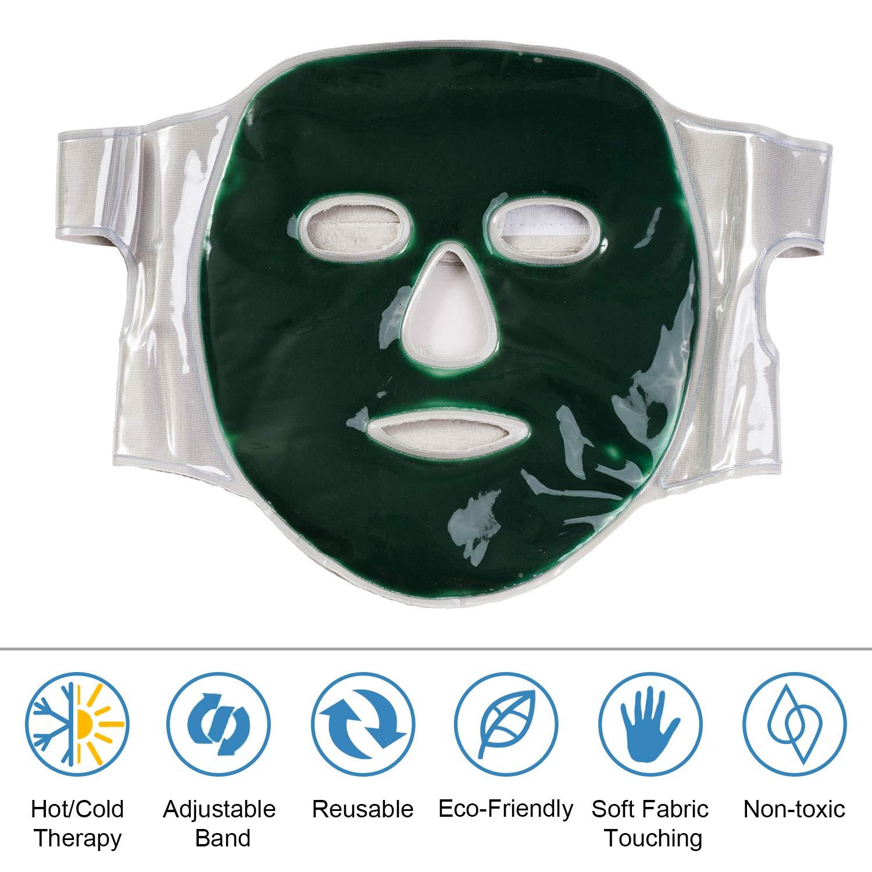 Máscara de hielo facial para rostro hinchado, eliminación de círculos oscuros, alivio del dolor de cabeza (calor/frío dos modos): Amazon.es: Belleza