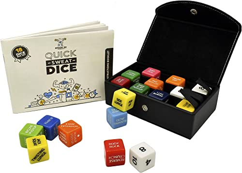 Stack 52 Quick Sweat Fitness Dice. Bodyweight Exercise Workout Game. Designed by a Military Fitness Expert. Video Instructions Included. No Equipment Needed. Burn Fat Build Muscle.