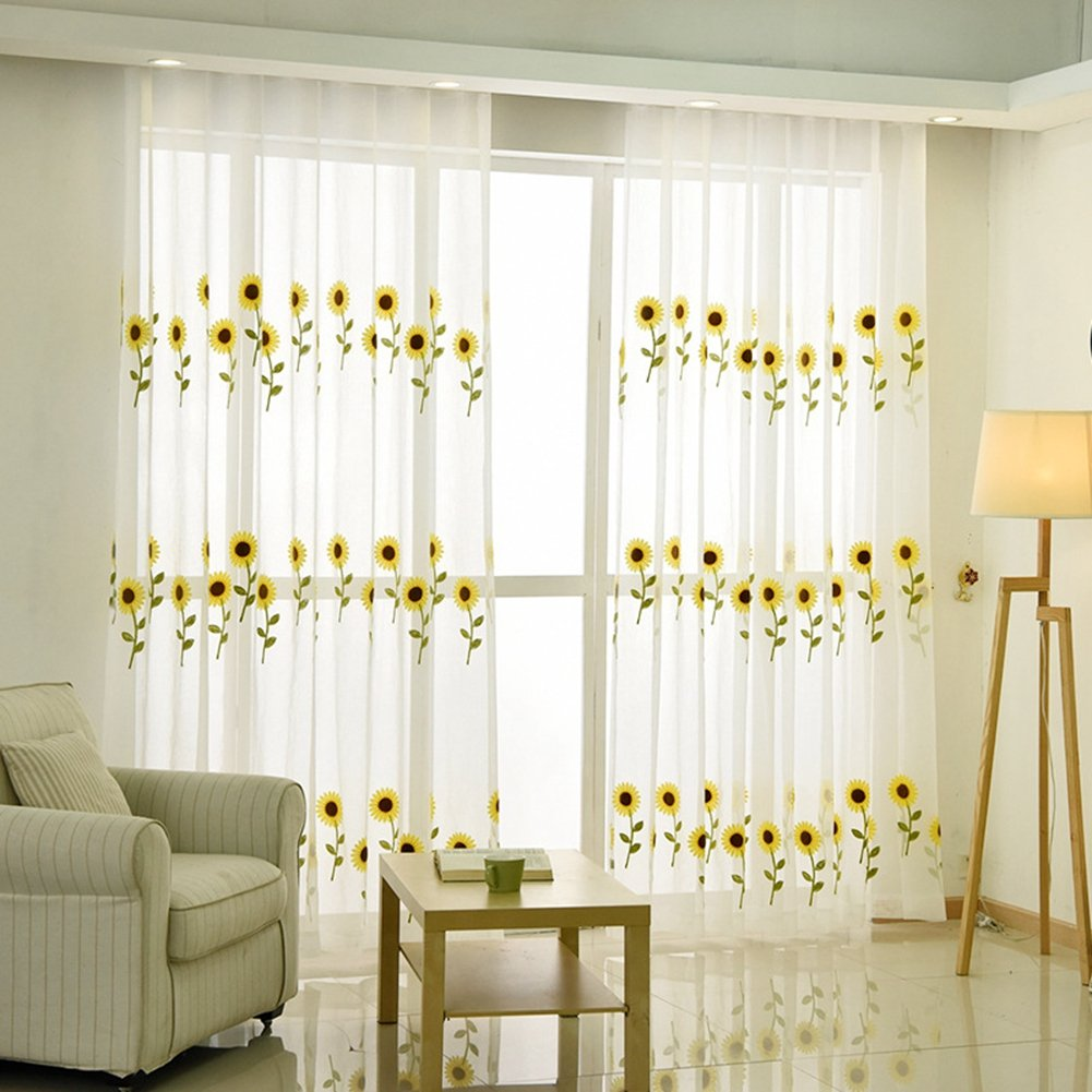 ZZC Floral Rod Pocket Sheer Curtains for Living Room Embroidered Window Treatment Panels Sunflower Faux Linen Window Curtains 39 Inches Width x 84 Inches Long (Total 78'' Wide) 2 Panels Yellow