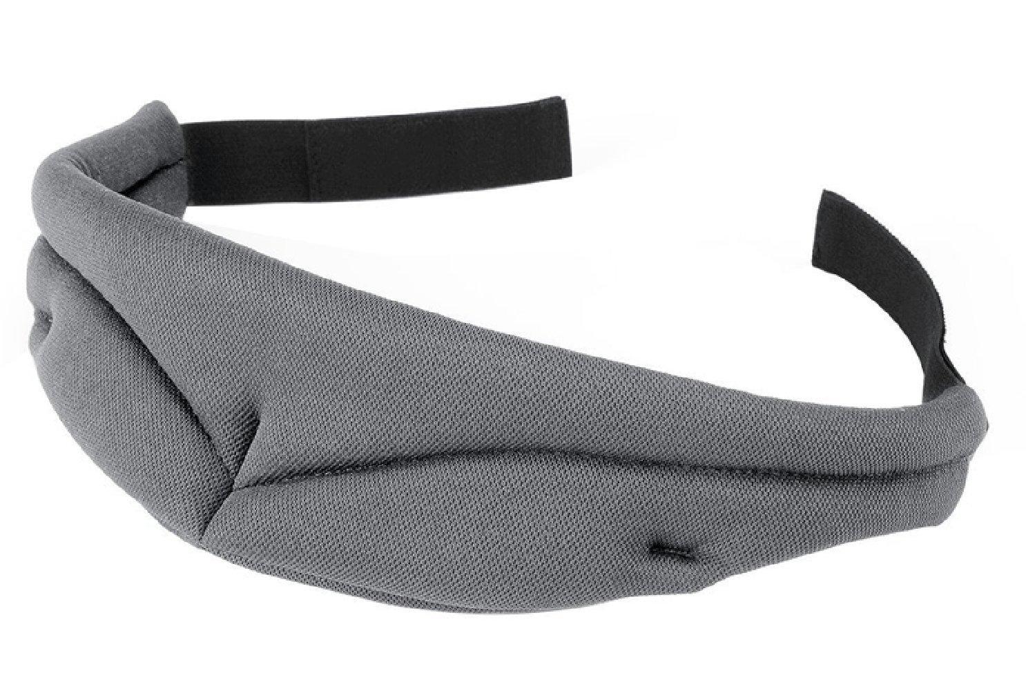Pasway Masque de Sommeil Confortable Respirant Housse de Masque de Mousse à Mémoire Avec Velcro Réglable Pour Dormir sur Avion, Bureau, Lit et plus (Gris)